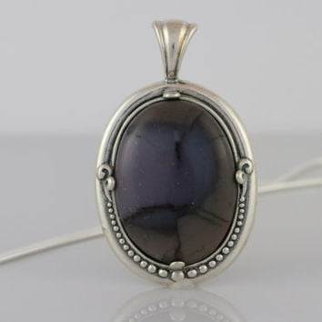 Purple and Mauve Fossilized Coral Pendant Necklace in Sterling Silver Setting on Sterling Silver Snake Chain