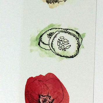 Collection of 3 Vegetable Themed Bookmarks, Three Pack Watercolor Food Design Book Accessory, Gardener Green Thumb Healthy Foodie Bookmark