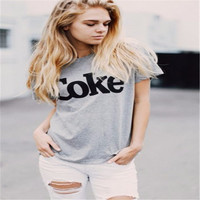 women's T shirts 2017 Fashion Casual New  Women fashion Letter Coke printing Hot saleT-shirt Women T shirt Cotton  8 Colors Tee
