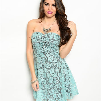 Women Fashion Strapless Sweetheart Mini Dress Prom HOCO Mint Gray Lace Tunic