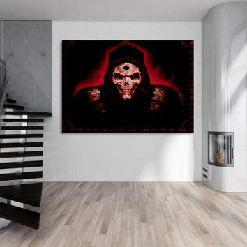 1 piece canvas art dark horror skull canvas painting