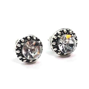 ON SALE - Marcasite Zirconia Flower Halo Stud Earrings