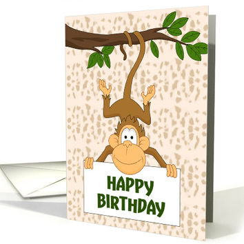 Cute Monkey Hanging from Tree for Birthday card