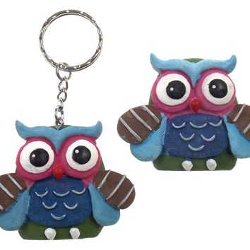 Fashioncraft Good Luck Wise Owl Refrigerator Magnets Key Rings Chain Set 8 Blue