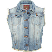 River Island Womens Light wash frayed denim cropped vest