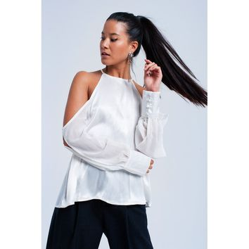 White top with cold shoulder