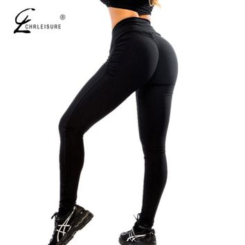 CHRLEISURE Sexy Push Up Black Leggings Women Fashion High Waist Workout Polyester Leggings Jeggings Activewear Slim Legging