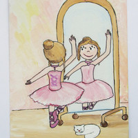 Picture - Card - Original  gouache painting on carton- Dancing girl