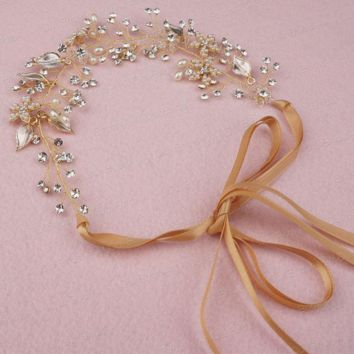 Crystal Pearl Floral Bridal Headband Handmade Bridal Hat Hair Accessory Head wear