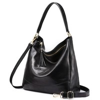 women leather handbags female genuine leather shoulder bag large hobos tote bag with tassel Black Brown Red Green