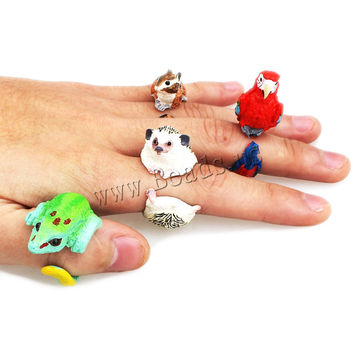 animal Wedding bend ring funny lady trency women 3D animal ring Hedgehog Ring Panda Dog Rings for women Tiger Lizard Bear Parrot