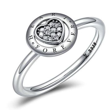 Forever Enduring Love Heart Pave CZ Finger Rings Sterling Silver
