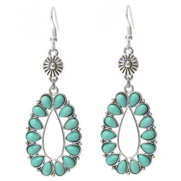 Turquoise and Silver Teardrop Dangle Earrings