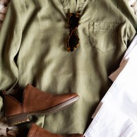 Always Greener Tencil Top, Olive