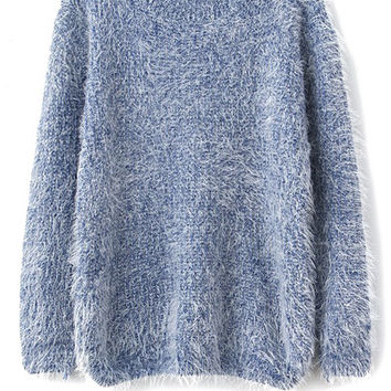 Solid Color Long Sleeve Mohair Sweater