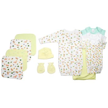 Bambini Neutral Newborn Baby 11 Pc Layette Baby Shower Gift Set  - Made in USA