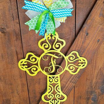 Cross Wall Art, Front Door Cross, Cross Wall Decor, Cross Wall Hanging, Monogrammed Cross, Cross Door Hanger, Wedding Decor, Housewarming