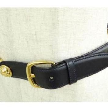 Tagre™ MINT. Vintage Salvatore Ferragamo navy leather and chain belt with golden round charms