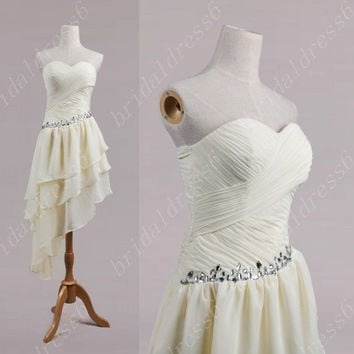 2014 Ivory Crystals Sweetheart Strapless Long Ruffled Tiered Bridesmaid Cocktail Dress,Chiffon Evening Party Prom Dress New Homecoming Dress