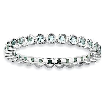 Sterling Silver Stackable Expressions Bezel Aquamarine 2.25mm Eternity Band