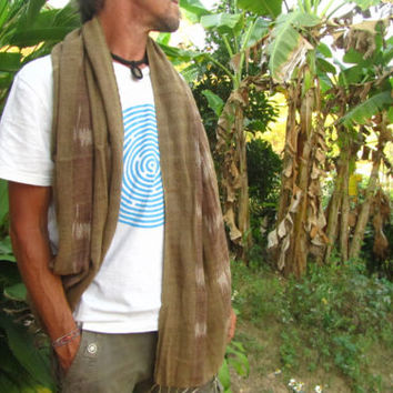 Men's 100% Natural Cotton Brown & White Weave Scarf Natural Surfer Hippie Travel | eBay