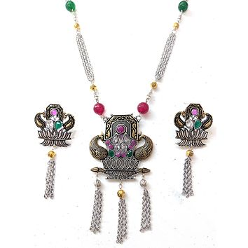 Trendy link chain tassel Lotus dual tone oxidized pendant chain necklace and earring set