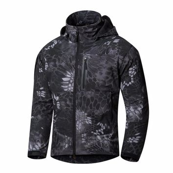 2017 Men's Softshell Jacket waterproof windbreakers Army tactical Clothing 5 Color