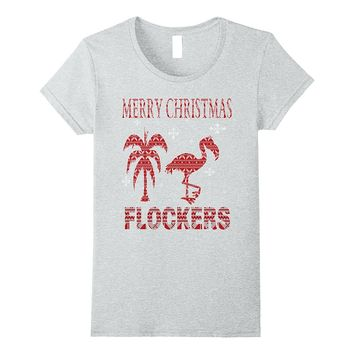 Merry Christmas Flockers Funny Christmas Flamingo T-Shirt