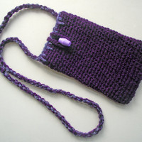 Crochet Glasses Case, Handspun  Spectacle Pouch, Handspun Mobile Phone Pouch,  Purple Merino Glasses Case, Artisan Crochet Cell Phone Pouch