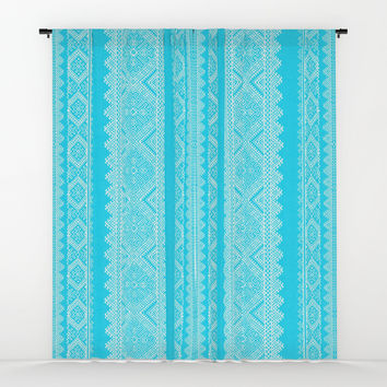 Ukrainian embroidery heavenly azure Window Curtains by exobiology