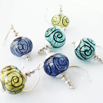 Hollow Glass Earrings, Choose Navy Blue, Aqua Teal, Kiwi Green, Matte Satin Finish Sterling Silver, Contemporary Jewelry, SRA Lampwork Glass