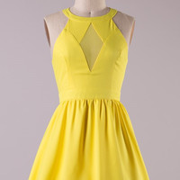Diamond Cut Dress- Yellow