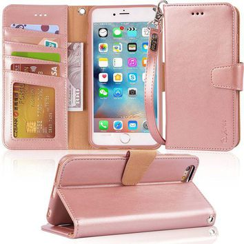 LMFMS6 Iphone 6s Plus Case, iphone 6 plus case, Arae [Wrist Strap] Flip Folio [Kickstand Feature] PU leather wallet case with ID&Credit Card Pockets For Iphone 6 plus / 6S Plus 5.5, rosegold