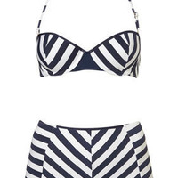 Stripe Push Up Bikini and Pant - Swimwear  - Clothing  - Topshop