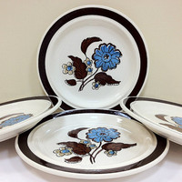 Retro 70s Plates Blue Flowers Brown Leaves