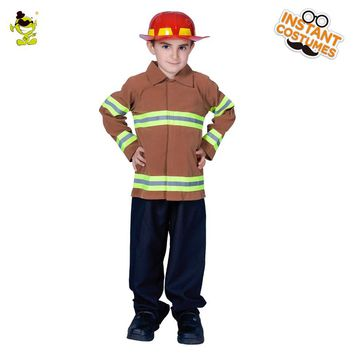 2018 Fireman costumes boys play stage Career Suit Kids Halloween Cosplay Uniform For Kids Boys firefighters fire fighters