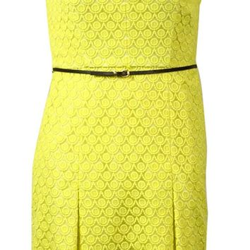 Calvin Klein Women's Belted Pleather-Trim Embroidered Lace Dress