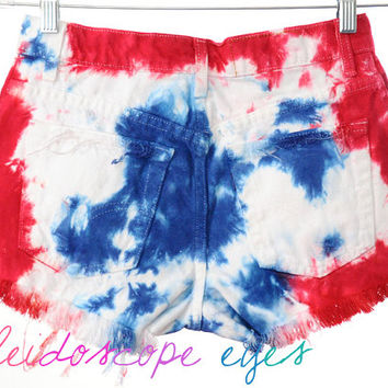 Vintage Levis 4TH OF JULY Studded Red White Blue Tie Dye Stars & Stripes Cut Off Shorts S