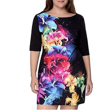 Plus Size Women Clothing 2018 Summer Print Dress