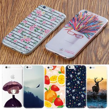 GerTong Phone Cases For iPhone 6 6s Plus 6plus 5S 5 SE Flowers Wolf Fruit Girls Pattern Soft TPU Cover Case For iPhone 7 7plus