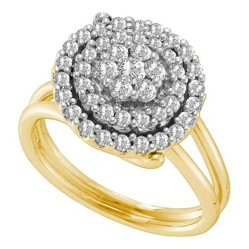 14kt Yellow Gold Women's Round Diamond Concentric Circle Flower Cluster Ring 3/4 Cttw - FREE Shipping (US/CAN)
