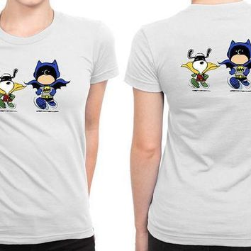 Funny Batman And Robin Peanuts B 2 Sided Womens T Shirt