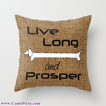 "Dachshund ""Live Long and Prosper"" Pet Graphic Print 16"" x 16"" Throw Pillow Cover - Couch Art, Burlap, Dog, Trekkie, Star Trek, Leonard Nemoy"
