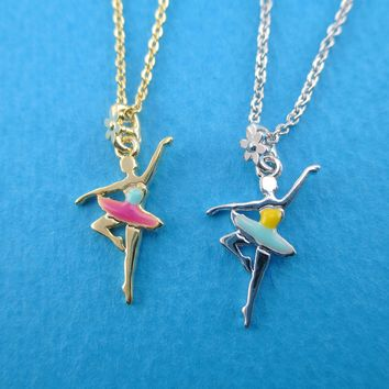 Ballet Dancer Ballerina Girl Pirouette Pose Shaped Pendant Necklace in Silver or Gold