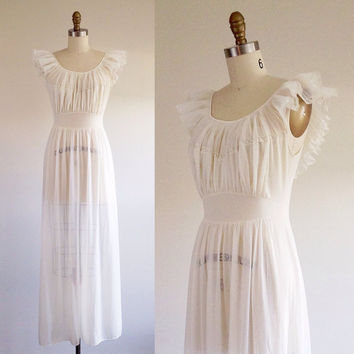 Simple wedding gown- White chemise- Sheer dress- Pleated sleeves- Nightgown- White lingerie- Ivory wedding dress- Vintage wedding