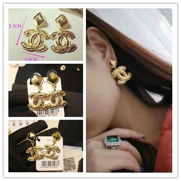 Chanel Metal Exaggerated Baroque Style Earrings Long Earrings