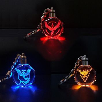 Pokemon Go Keychain Symbol Team Valor Instinct Mystic Cosplay Badge Crystal Keyring Key Chain LED Pendant Color Flash Costume