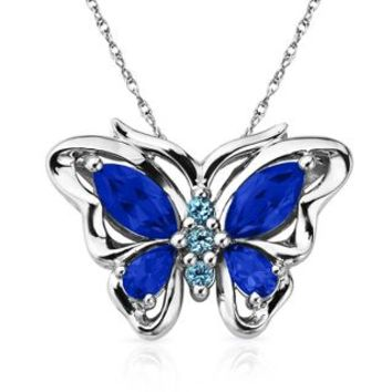 London Blue Topaz Butterfly Pendant in Sterling Silver - Shop All Pendants & Necklaces - Pendants & Necklaces - Jewelry - Helzberg Diamonds