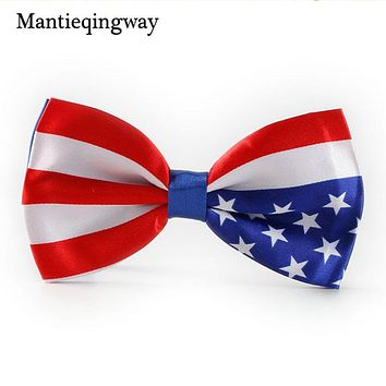 Gentlemen Bow Tie Red Blue Flag Bowtie Men's Unisex Tuxedo Dress 7cm Bowties Party Ties for Men