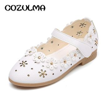 COZULMA Children Casual Shoes Girls Flower Dress Party Shoes Kids Pu Leather Dance Shoes Baby Girls Sneakers Big Size 21-36